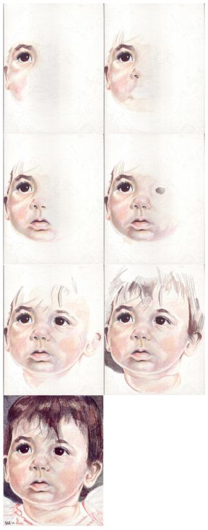 In progress scans of colored pencil drawing Clara at 10 Months