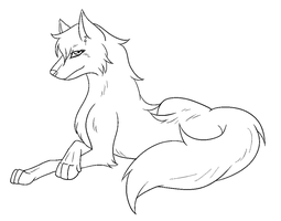 Free Lovely She-Wolf Lineart by The-Crow-Faced-Wolf
