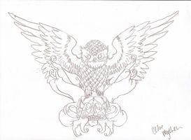 Owl Tattoo Outline by cxloe