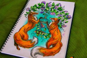 foxes by NikaSamarina