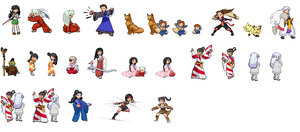 InuYasha Sprites by pinkclouds08