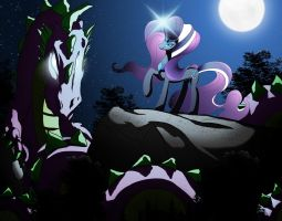 Nightmare Rarity and her Spike by Hellbeholder