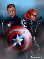 Captain America and Black Widow by Mareishon
