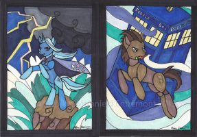 Trixie and Doctor Hooves MLP Stained glass style by mialythila