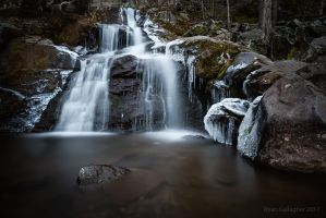 Water and Ice at Dark Hollow Falls by ryangallagherart