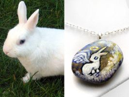 White Rabbit Angel Pendant Necklace by sobeyondthis