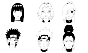 Naruto Headshots 2 by HarliquinMoon