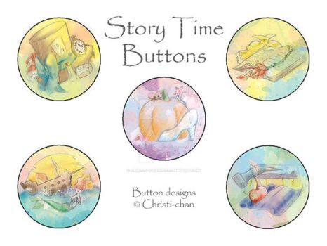 Story Time Buttons - Set1 by christi-chan