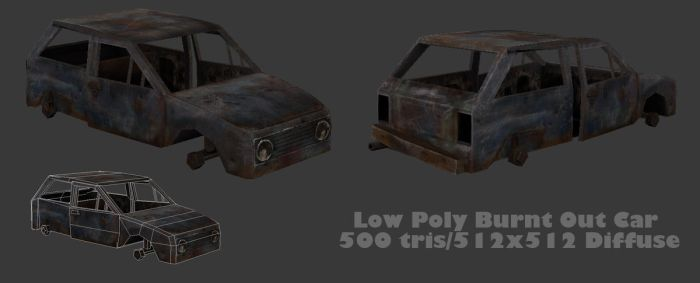 Low Poly Burnt Out Car by BlooCoops