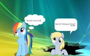 the stuff rainbow dash  puts up with by Timexturner
