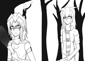 Marik and Bakura in Slender by kimartess