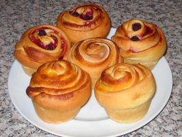 Peach and Blackberry Brioche Buns by Bisected8
