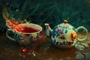 3. Floral teacups and teapots by sanjalydia365