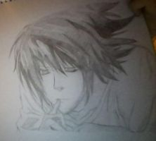First drawing of L from Death Note by girldoesdrawing