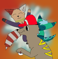Pokemon Trainer Prou and his two Pokemon by Donhill44