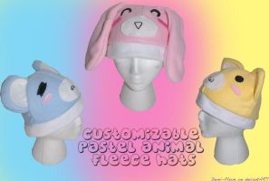 Pastel Animal Fleece Hats by Demi-Plum