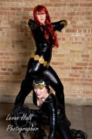 Black Widow and Cat Woman by Silver-Fyre
