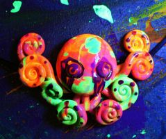 Blacklight Neon Octopus Necklace by BlackMagdalena