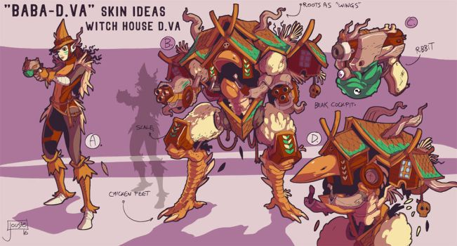 Baba-D.va or D.va Yaga Overwatch skin idea commish by jouste