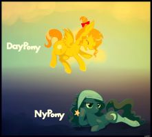 NyPony and DayPony by cappydarn