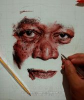 Ballpen Portrait - Morgan Freeman WIP 3 by leemarej