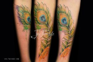 Peacock feather tattoo- Jay fresstyle by Tattoo-J