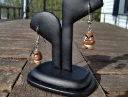 SMB Goomba Earrings by shadowsport313