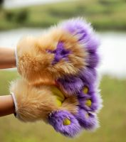 Camel and Purple Fingered Hand Paws by DressedAllInFurWorks