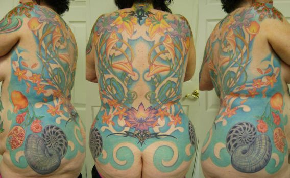 ocean and floral backpiece by gabrielcece