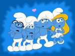 Brainy, Clumsy,  Hefty and  Smurfette by HeinousFlame
