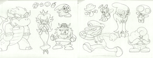Mario RPG Sketches by Kirbopher15