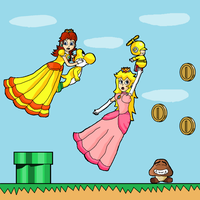 peach and daisy to the rescue by Raeqwonart