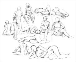 Life Drawing sketches by adlovett