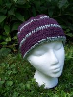 Plum and sage striped hat by user-name-not-found