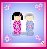 kokeshi : Mom and  Daughter by broom-rider