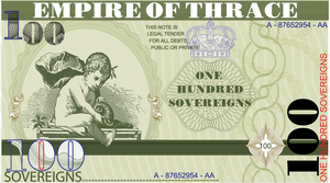 Thracian 100 Sovereign bill by empireofthrace