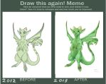Draw this again meme (Garden dragon). by dragongirl900
