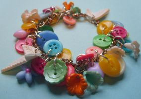 Button charm bracelet FOR SALE by silverlode
