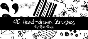 40 Hand Drawn Brushes by Rhia-Rose