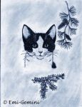 black and white cat under pine by Emi-Gemini