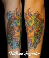 Green and Yellow Koi - healed - Tattoo by Bill by SmilinPirateTattoo