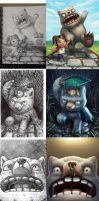 My Monster and Me Pages 1,2,3,4,7 sketch compariso by BryanHeemskerk