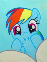 rainbow dash painting canvas by LightningChaser
