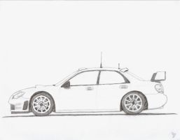 Impreza Rally Car Drawing by mikebontoft