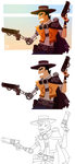 Steampunk Gunslinger(process) by placitte2012