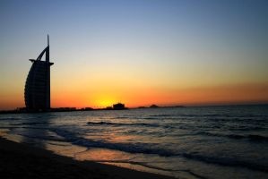Burj al Arab, Sunset by hannajohn