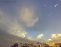 Angels in flight among the clouds by Tazunee