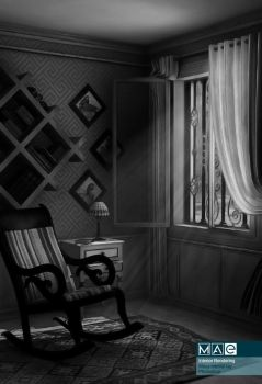 3d interior old chair BW by mae1985