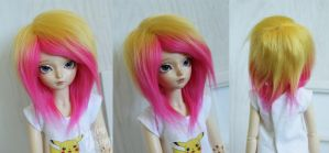 Custom msd fur yellow and hot pink wig by MonstroDesigns