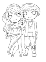 Lineart: Chibi Couple by RueYumi
